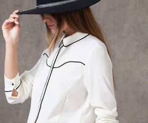 black and white, chapeau, and chemise image