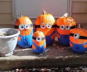 minions, pumpkin, and Halloween image