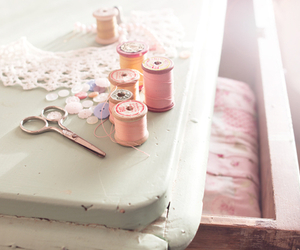 pastel, pink, and thread image