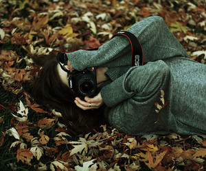 camera, girl, and leaves image
