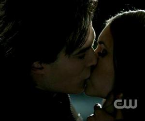damon, elena, and kiss image
