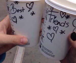 starbucks, carefree, and best friends image
