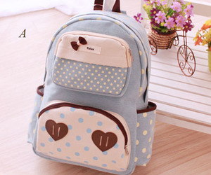 backpack, blue, and cute image