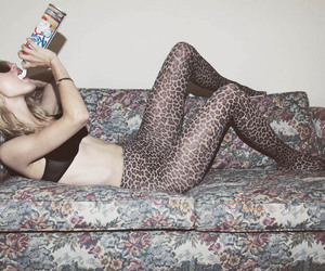 animal print, couch, and girl image