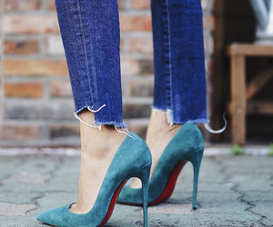 jeans, WITH, and love blue pumps image