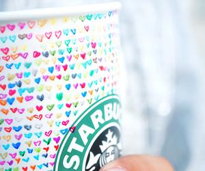 starbucks, hearts, and coffee image