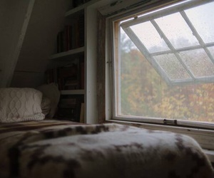 bed, window, and room image