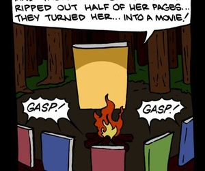 book, funny, and campfire image
