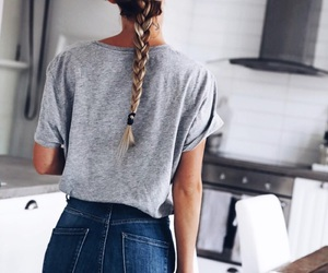 hair, braid, and jeans image