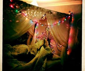 bed, christmas, and light image