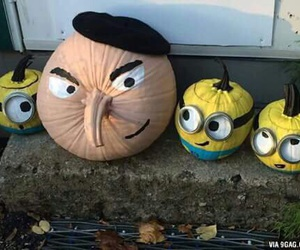 minions, Halloween, and pumpkin image