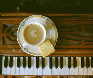 piano, coffee, and vintage image