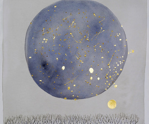 moon, art, and stars image