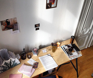 desk, papers, and tumblr image