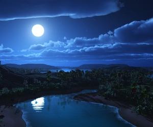 art, night, and lake image