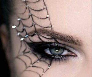 Halloween, makeup tutorial, and spider eye makeup image