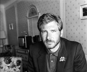 harrison ford and black and white image