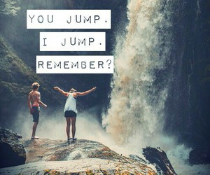 couple, love, and jump image