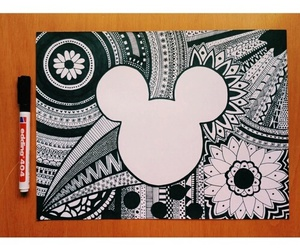 drawing, art, and mickey image