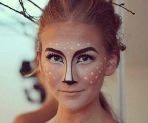 makeup, Halloween, and deer image