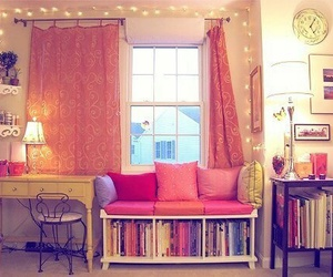 room, pink, and book image