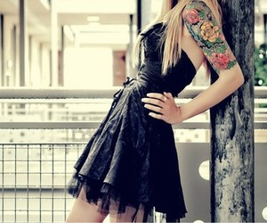 girl, tattoo, and dress image
