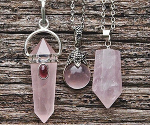 pink, necklace, and crystal image