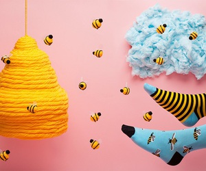 blue, bee, and honey image