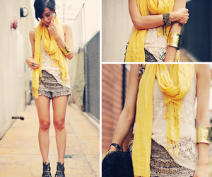 fashion, yellow, and lace image