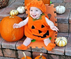 autumn, baby, and pumpkin image