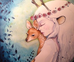 art, fawn, and flowers image