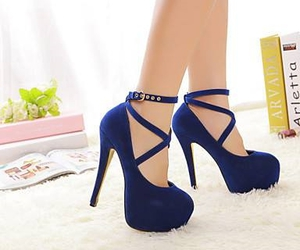blue, heels, and shoes image