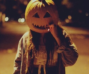 Halloween, girl, and pumpkin image