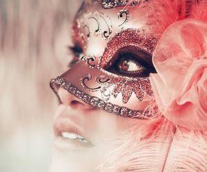 mask, pink, and masquerade image