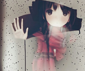 anime, rain, and anime girl image
