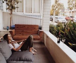girl, wine, and home image