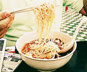chinese food, noodles, and pork image