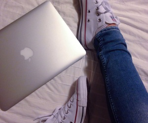 apple, macbook air, and converse image