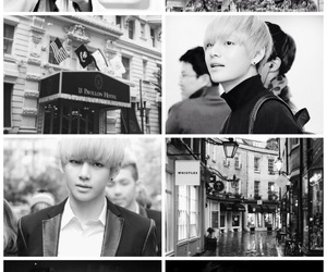 black and white, Collage, and kpop image