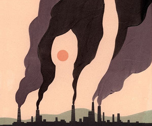 Figure, smoke, and factories. collage. image