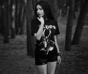 dark hair, bathory, and black metal girl image