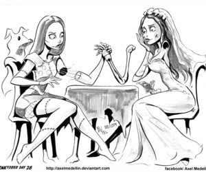 black and white, corpse bride, and Halloween image