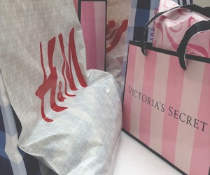 H&M, pink, and shopping image