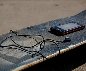 music, skateboard, and skate image