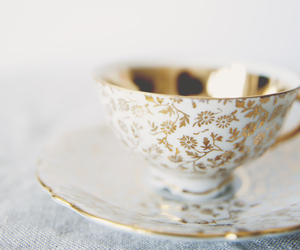 cup, tea, and gold image