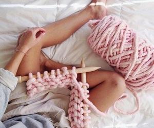 pink and knitting image