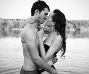 beach, love, and black and white image