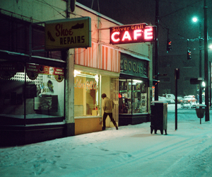 cafe, neon, and nocturnal image