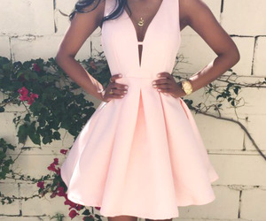 dress, elegant, and pink image