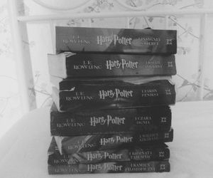 book, black and white, and harry potter image